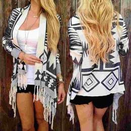 $enCountryForm.capitalKeyWord Canada - Boho Womens Long Sleeve Cardigan Loose Geometry Pattern Outwear Knitted Tassel Jacket Coat Autumn Winter Clothing