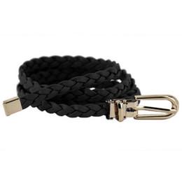 Woven Leather Belt UK - Women Ladies Weaved Braid PU Leather Skinny Narrow Waistband Waist Belt 1cm Wide