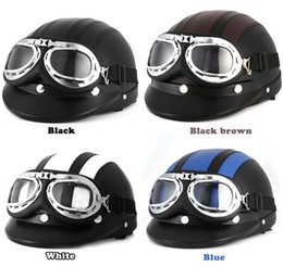 Full Face shield online shopping - Motorcycle Helmet CM with Goggles Sun Shield Necklet Retro Style Light and Durable for Outdoor Cycling Protecting Head