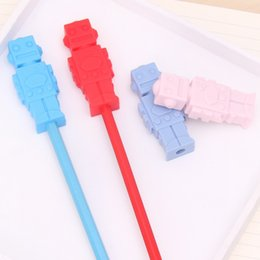 Dents De Silicone En Gros Pas Cher-Baby Teethers Safe Silicone Robot Pencil Toppers BPA Free Silicone Teething Beads Chewable Pencil Topper Toys Children Gifts Wholesale
