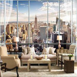 Wholesale Custom Photo Wallpaper 3D Stereo Large Murals Modern False  Windows Living Sofa Bed Bedroom New York Flash Silver Cloth Wallpaper