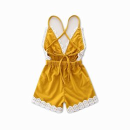Dentelle De Garçon Pas Cher-Retail Summer New Baby Girl Romper Infant V neck Lace Edge Princess Backless Beach Overalls Toddler Clothing 0-2Y 16528