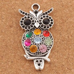 Antique crystAl owl online shopping - Colorful Crystal Owl Animal Charms Hot Antique Silver Pendants x47mm L1598 Jewelry Findings Components LZsilver
