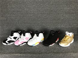 child satin 2019 - Discount Kids Basketball Shoes Wholesale New 6 gold oreo black red 6s Boys Sneakers Children Sports Shoes trainers 28-35