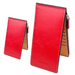 China Women Waxy Ultrathin Leather Long Purse Elegant Card Multi Card Holder Wallets Red Black Orange Black Rose Red Color A342 suppliers