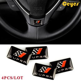 car epoxy Canada - Car Decoration Fashion Label logo Emblems Stickers for Seat Leon CUPRA Personalized Epoxy Car Logo Sticker Car Styling Accessories 4PCS LOT