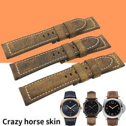 panerai watch band strap 22mm 2019 - 20mm 22mm 24mm 26mm Handmade Italian Vintage Crazy Horse Genuine Leather Watch Band Strap Pin Buckle Watchband Strap for
