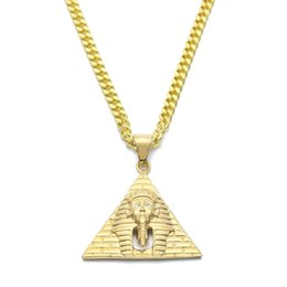$enCountryForm.capitalKeyWord Canada - Hip Hop Egypt Pharaoh King Men Stainless Steel Pendant Necklace For Men Women Vintage Hip Hop Jewelry With Chain