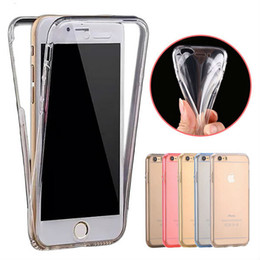 transparent iphone front back Canada - Thin Clear Soft Hybrid TPU Front Case + Back Cover For iphone7 Plus 6S 6SPlus 5S SE 360 Degree Full Body Protect Cover