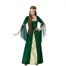 gothic vampire women costume UK - 2017 New Medieval Renaissance Adult Witch Gothic Queen Of Vampire green Fancy Dress Halloween Fancy Dress Girls Outfit