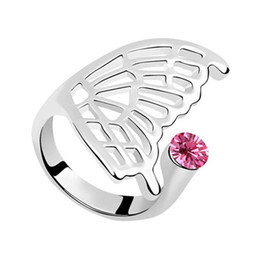 angel wing finger NZ - High End Luxury Fine Jewelry Accessories Austrian Crystal Angel Wings Butterfly Party Cocktail Fingers Charm Wedding Bands Rings For Women