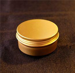 Aluminium Lip NZ - Free Shipping 80g Gold Aluminium Jar Empty Food Lip Oil Container Cosmetic Cream Packaging Bottles