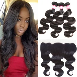 Full Body Wave Hair NZ - Cheap Human Hair Weave with Closure 13X4 Full Lace Frontal Closure with 3 Bundles Brazilian Peruvian Indian Malaysian Body Wave Hair Wefts