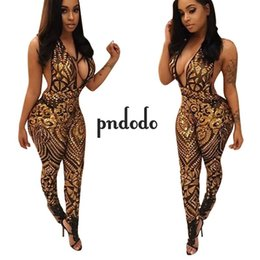 Barato Macacões Grossistas Mulheres-Venda Por Atacado - Pndodo 2017 Long Bodycon Jumpsuit For Women Summer Party Aleeveless Backless Hollow Out Rompers Womens Overalls Moda Jumpsuit