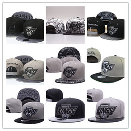 snapbacks straps UK - High Quality Men's Los Angeles Kings Snapback Hat Team Logo Embroidery Sports Adjustable LA Hockey Caps Vintage Leather Visor Strap back Hat