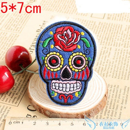 Decorative for hats online shopping - Patch DIY Flowered Skull Embroidered Patches Fabric Badges On punisher For Bags Patches Clothes Hat Decorative Ornament free ship
