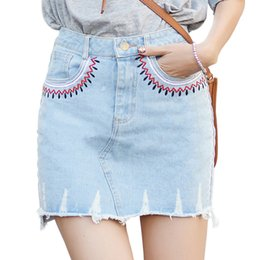 wholesale new vintage above knee embroidery holes women short skirts ladies summer female blue jean skirt plus size 4xl
