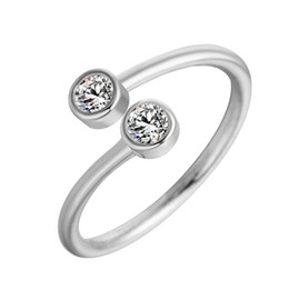 Chinese  5pcs lot 925 Sterling Silver Crystal Rings for Women Fine Jewelry Adjustable Double Round CZ Ring Open Midi Toe Engagement Rings manufacturers