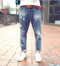 Jeans Homme Masculin Pas Cher-Vente en gros - jeans masculins en vrac Marque Nouveaux Jeans Jeans Homme Zipper Fly Character Ripped Holes Casual Men's Jeans Pants