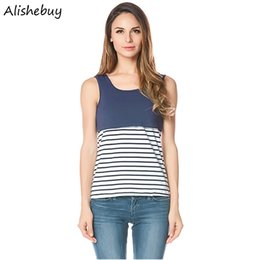 Barato Mulher Top De Listra Azul-Mulheres Striped Tanks O-Neck Stripes Patchwork Tanques Summer Sleeve Camisetas Senhoras Vestuário Cotton Plus Size Tee Casual Tank Top Azul SVH034150
