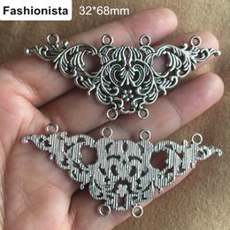 $enCountryForm.capitalKeyWord Australia - 15 PCS Big Vintage Silver Flower Pendant With 6 Loops,Metal Alloy Filigree Charms 32*68mm Jewelry Supplies
