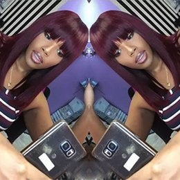 Red Hair Bangs NZ - Burgundy Glueless Full Lace Wig for black women Front Lace Wig Brazilian Silk Straight Human Hair Wigs Wine Red Bob With full bangs