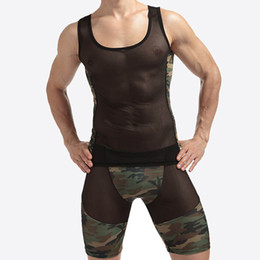 Barato Xl Lingerie Exótica-1 conjuntos Mesh Sexy Men Tank Tops colete transparente Singlet Undershirts Gay Exotic sheer Nylon Camouflage Underwear Lingerie Set