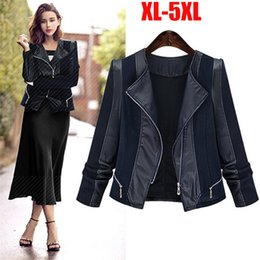 Barato Jaque De Pu Grossista-Atacado XL-XXXXXL Plus Size Mulheres Vestuário Outono Inverno Mulheres Faux Soft Leather Jackets PU Zippers Long Sleeve Moto Outwear Coat