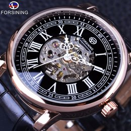 Luxury Display Cases Canada - Forsining Retro Classic Series Roman Skeleton Display Black Dial Skeleton Rose Golden Case Mens Automatic Watch Top Brand Luxury