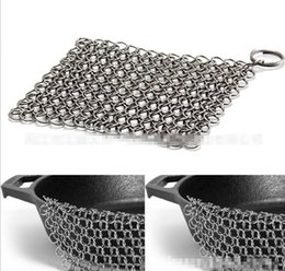 "8""x 8"" Stainless Steel 316L Cast Iron Cleaner Chainmail Scrubber Pre-Seasoned Dutch Ovens Waffle Iron Pans Cast Grill Scraper Skillet 4sizes from waffle iron pan suppliers"