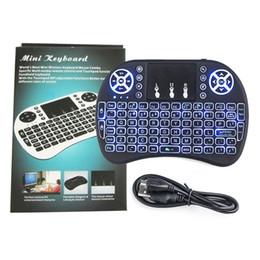Wholesale Mice Boxes Canada - Mini Wireless Keyboard 3 colour backlit 2.4GHz English Russian Air Mouse Remote Control Touchpad For Android TV Box Tablet Pc 1PC