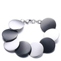 $enCountryForm.capitalKeyWord Australia - Gold Plated Rounds Blank Bracelets for Women 8 Pcs Round Disc Charm Female Bracelets & Bangles 19.8cm BR-289