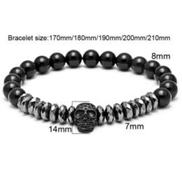 $enCountryForm.capitalKeyWord Canada - Mcllroy Nature & Hematite Beads Bracelets Skull Bangles bijoux Titanium Steel Skull Bangle Bracelets Men Jewelry bracelet men