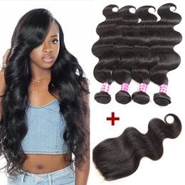 $enCountryForm.capitalKeyWord Canada - Brazilian Body Wave Virgin Remy Human Hair Weave 4 Bundles with Closure New Arrival Ponytail Hair Extensions Top Lace Closure Just for You