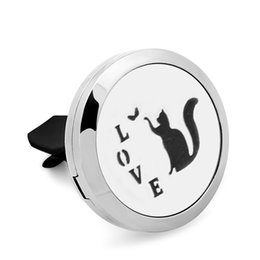 $enCountryForm.capitalKeyWord NZ - 5PCS LOVE Cat 316L Stainless Steel Car Perfume Locket For 30MM Essential Oil Diffuser With Free Pads