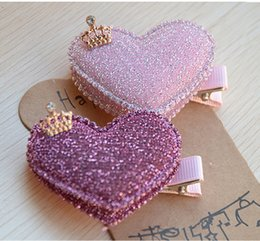 $enCountryForm.capitalKeyWord UK - Wholesale- 2pcs set Baby Girls Hair Accessories Sequin Heart Bear Shiny Fabrics And Crown Hair Clip Kids Children Hairpin kk1104