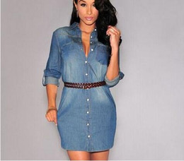 Des Robes Élégantes Et Lâches Pas Cher-2017 Femmes style élégant Casual Denim Mini Shirt Robe à manches longues manches longues Robes sexy V-neck Lady Work Dresses