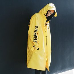 Water Proof Coatings Canada - Wholesale- Vetements Polizei Man Jackets Hooded Rain Coat Water-proof Sun Protection Trench Casual Hi-Street Fashion Brand Men Clothing