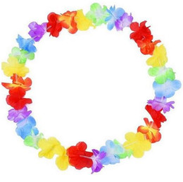 Wholesale 10Pcs Hawaiian Style Colorful Leis Beach Theme Luau Party Garland Necklace Holiday Cool Decorative Flowers