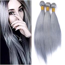 $enCountryForm.capitalKeyWord Canada - Gray Hair Weave Straight 8a Grey Human Hair Virgin Hair 3 Bundle grey Extension Hot Selling 16 18 20Inch Factory Price