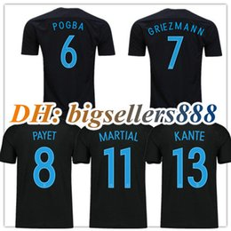 top thai quality 17 18 world cup soccer jersey france griezmann home black