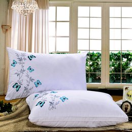 Designs For Beds Canada - 2017 Exclusive design luxury butterfly embroidery pillow for bedroom, hotel, hotel, motel, hospital, school bed pillow