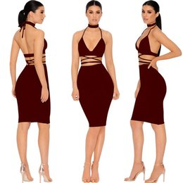 Barato Joelho Comprimento Noite Vestidos Sexy-2017 New Sexy Strap Backless Mulheres Vestido Deep V Neck Lace Up Bodycon Knee Length Vestidos High Waist Two Piece Skinny Night Club Wear