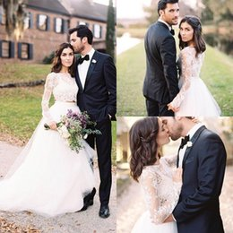 Two piece wedding dress online shopping - Long Sleeves Two Pieces Wedding Dresses Vintage Scoop Neck Appliques Button Back Bridal Wedding Gowns Bride Dress