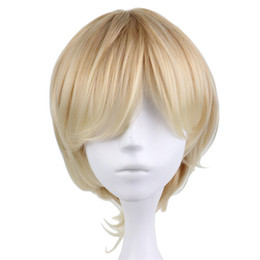 China Short Curly Men Male Cosplay Party Costume Blonde Wig 35 Cm High Quality Synthetic Hair Wigs suppliers
