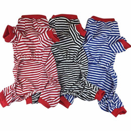 China Pet Cartoon Dog Striped Cotton Pajamas Small Cachorro Cat Jumpsuit Coat Shirt Clothes Hondenkleding New suppliers