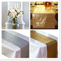 $enCountryForm.capitalKeyWord NZ - 5PCS 30*275cm Fabric Table Runner Gold Silver Sequin Table Cloth Sparkly Bling for Wedding Party Decoration Products Supplies