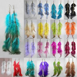 $enCountryForm.capitalKeyWord Canada - Feather Earrings 18 Colors wholesale lots Cute Charm Long Chain Light Dangle Eardrop Hot (Red Purple Army Green Brown Burgundy Black)(JF011)