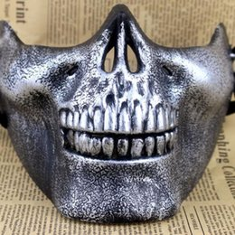 skull half face paintball mask 2018 - Skull Masks Fun Paintball PVC Airsoft Scary Skeleton Mask Protective CS Games Halloween Carnival Outdoor Party cheap sku