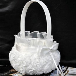 $enCountryForm.capitalKeyWord Canada - Lovely Design Flower Basket for Wedding Ceremony Party Love Case Satin Elegant Bowknot & Rose Flower Girl Basket
